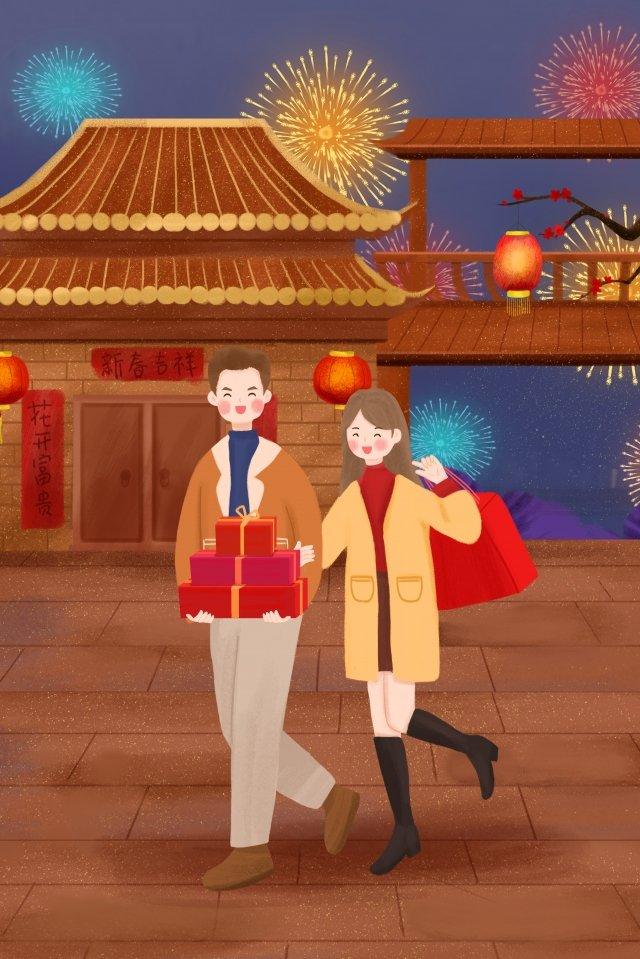 2019 new year spring festival family llustration image