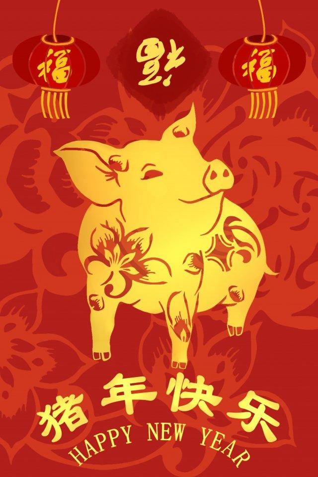 2019 년 새해 돼지의 붉은 색 삽화 소재