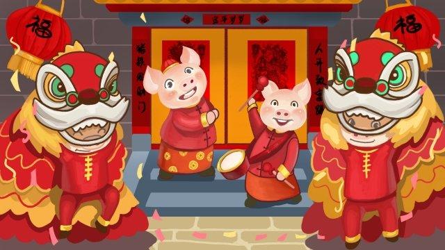 豚ブタの2019春祭り年 イラストレーション画像