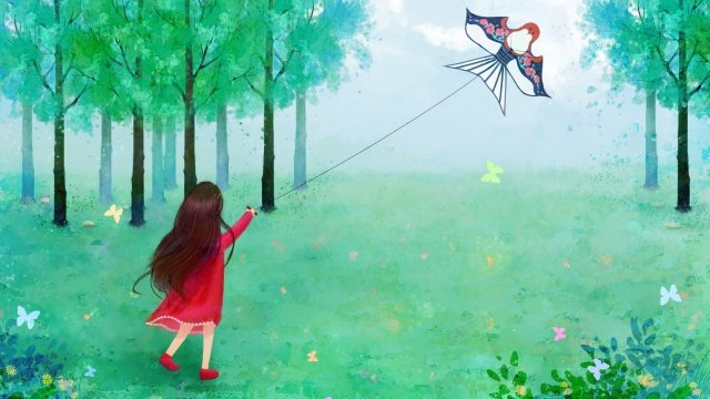 2019 spring landscape step on, Girl, Grassland, Fly A Kite illustration image