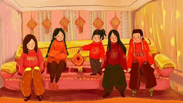 2019 year of the pig blessing children sitting row youth year, Visiting Relatives, Festive, Pink illustration image