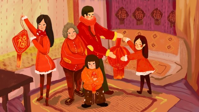 2019 year of the pig blessing family reunion china red, Lantern, Youth Year, Visiting Relatives illustration image