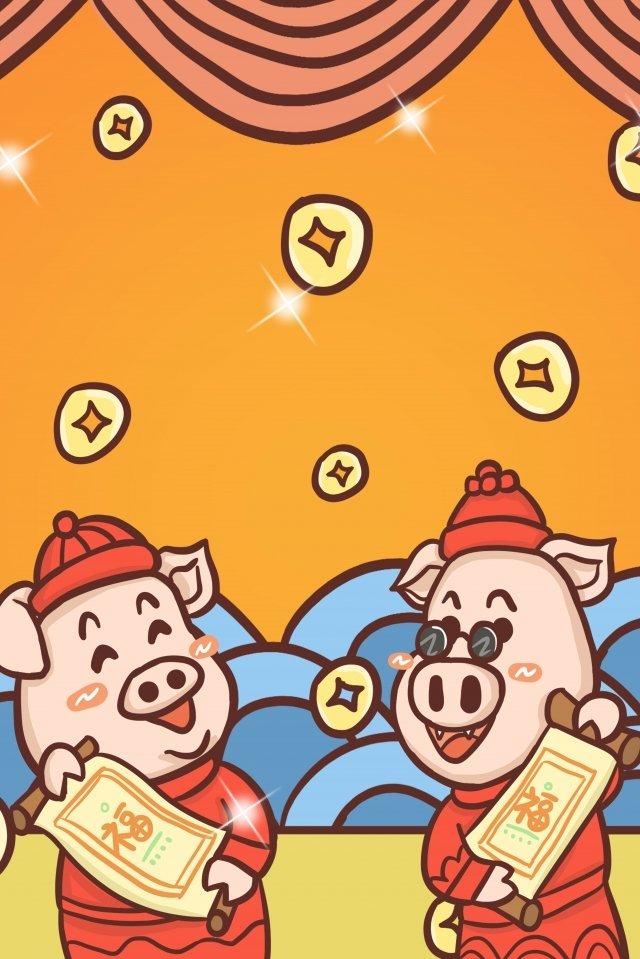 2019 ano do porco nova primavera fundo Material de ilustração