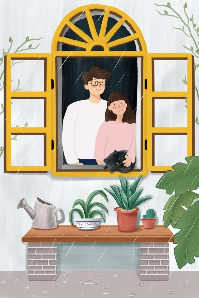 24 solar terms rainwater cartoon hand painted, Couple, Cat, Green Plant illustration image