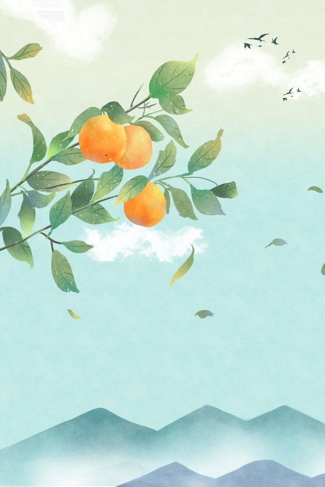 24 solar terms solar terms cold dew fall, Tangerine, Hongyan, Beautiful illustration image