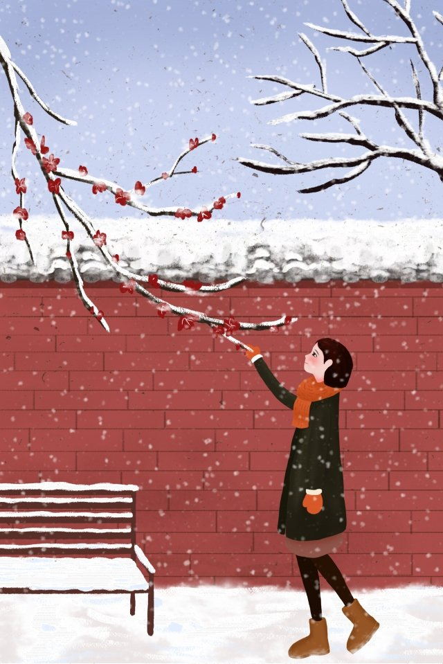 24 solar terms winter light snow heavy snow, Lovely, Girl, Illustration illustration image