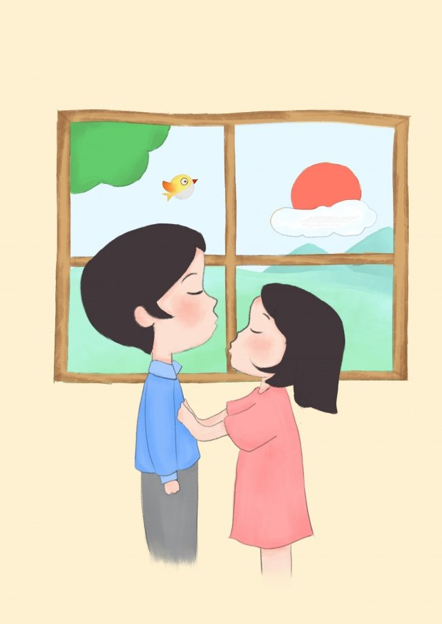 520 valentines day hand-painted boys cartoon boy, Hand Painted Girl, Cartoon Girl, Life illustration image