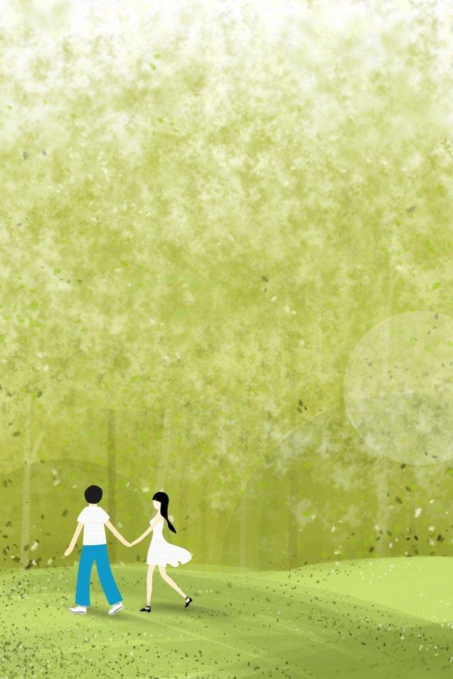 森の中を歩く手を繋いでいるカップル イラストレーション画像