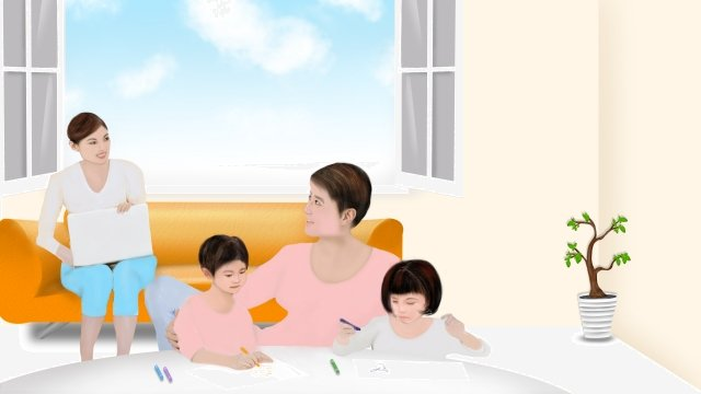 a family of four harmonious family parent-child education parent-child, Child Education, Home Life, Mom And Dad illustration image