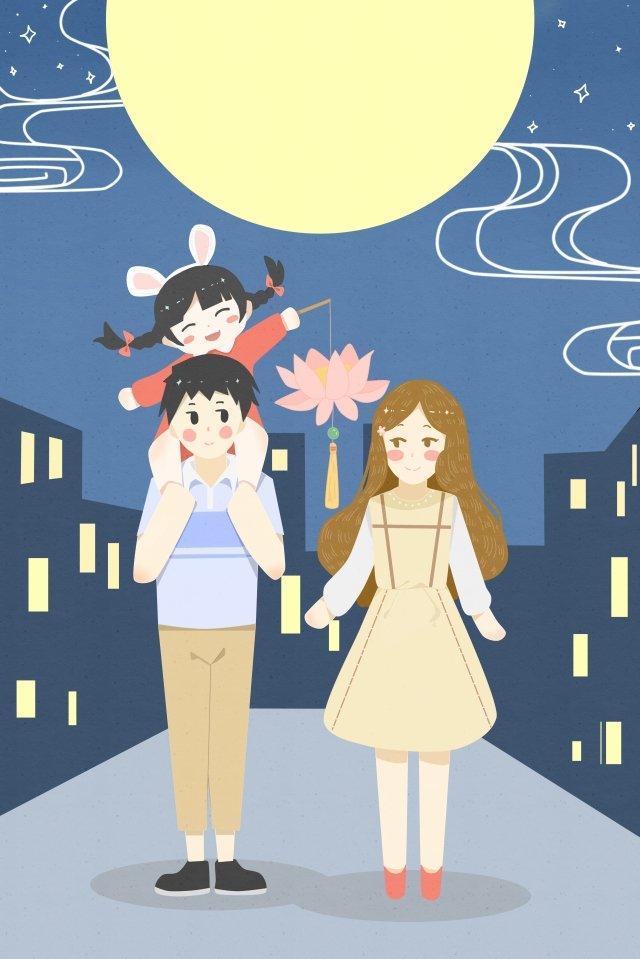 秋の半ばの3つの花の光の丸い月の家族 イラスト素材 イラスト画像