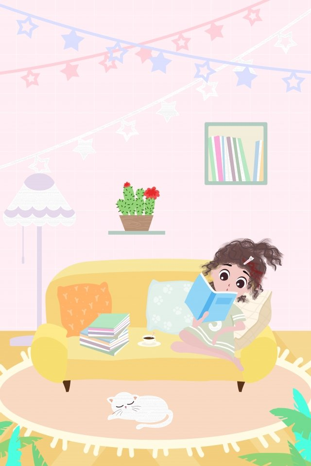 a person life city girl, House, At Home, Reading illustration image