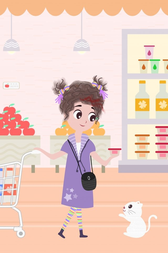 a person life city girl, Shopping, Supermarket, Hand Painted illustration image