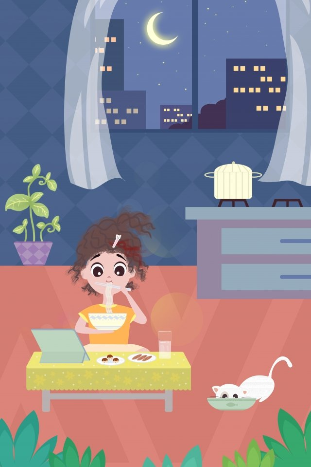 a person life city girl, Night, House, Eat illustration image