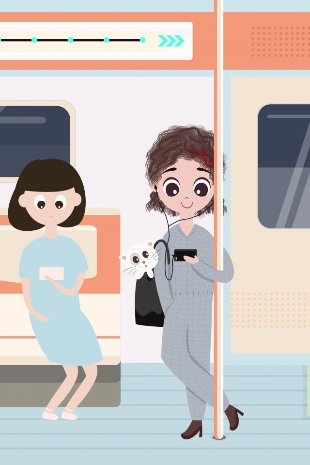 a person life city girl, Subway, Go To Work, On The Road illustration image