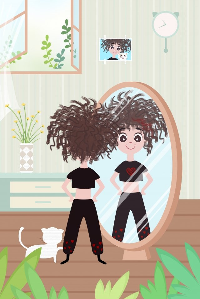 a person life girl lose weight, Looking In The Mirror, Hand Painted, Illustration illustration image