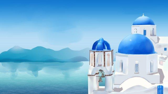 에게 해 바다 관광 로맨틱 한 매력 삽화 소재