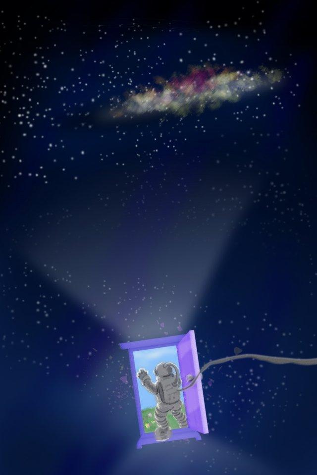 aerospace aviation universe space, Astronaut, Night Sky, Arbitrary Door illustration image