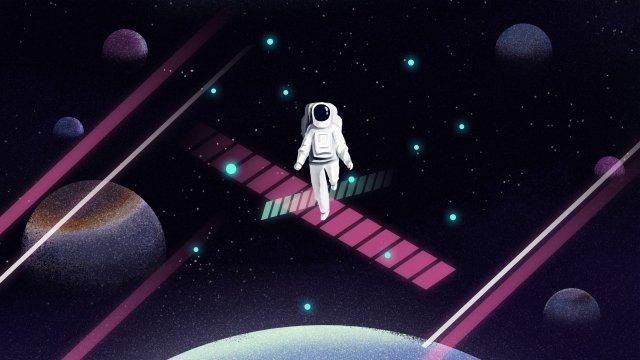 aerospace universe starry sky astronaut llustration image