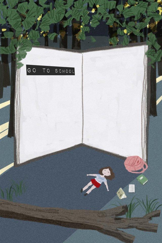 sau giờ học cô bé rừng đọc sách Hình minh họa