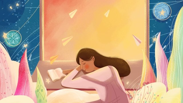 aircraft blue sky little girl, Beautiful Illustration, Cute Illustration, Airplane Illustration illustration image