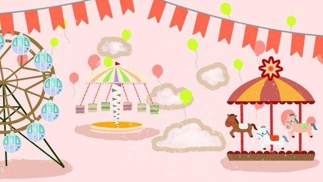 遊樂園旋轉木馬摩天輪玩 插畫素材 插畫圖片