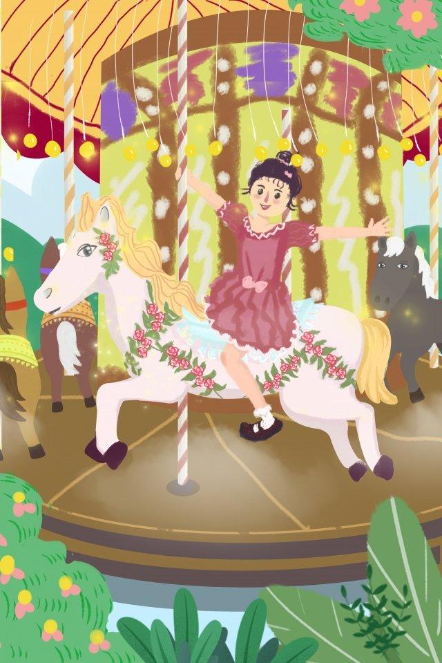 amusement park carousel girl happy llustration image