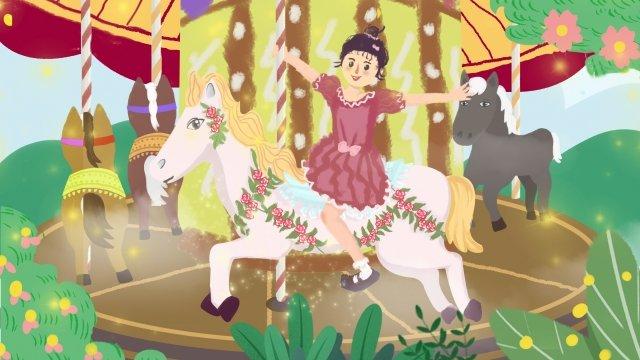 遊園地カルーセル少女幸せ イラストレーション画像