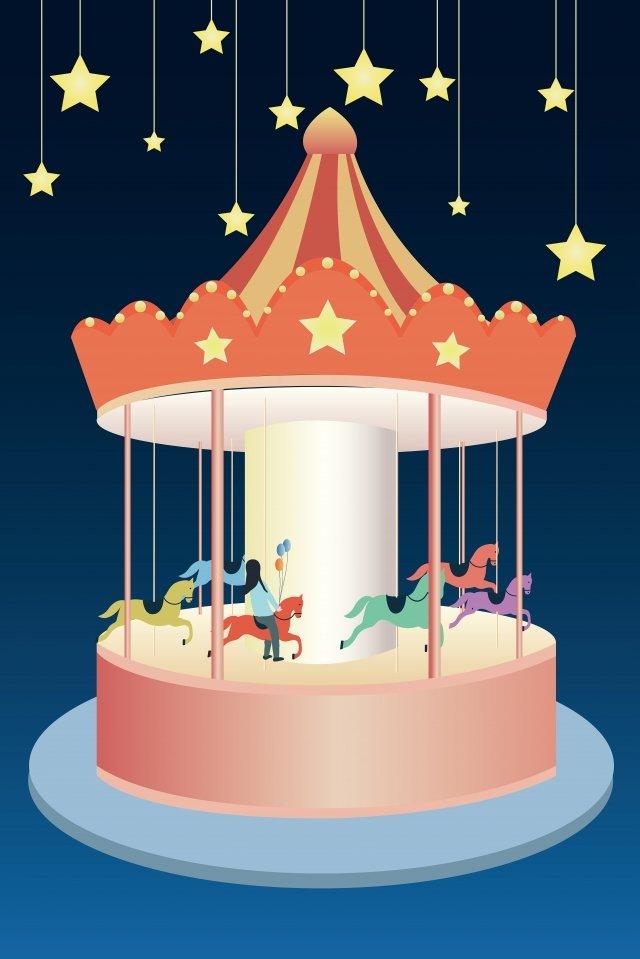 amusement park carousel star blue llustration image illustration image