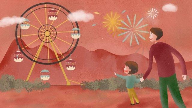 遊園地子供観覧車公園 イラスト素材
