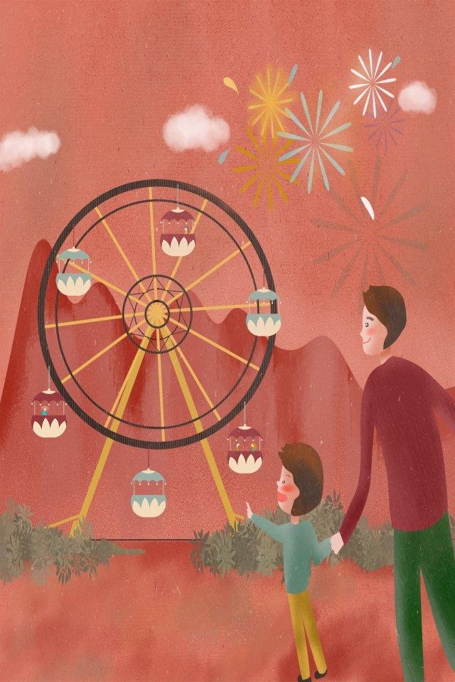 amusement park child ferris wheel park llustration image