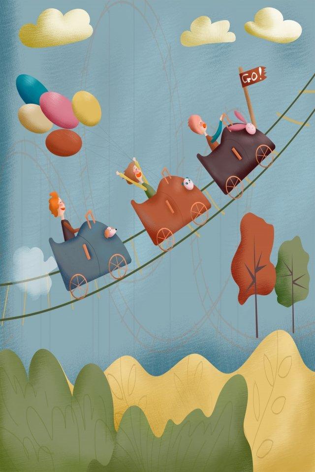 amusement park child roller coaster park illustration image