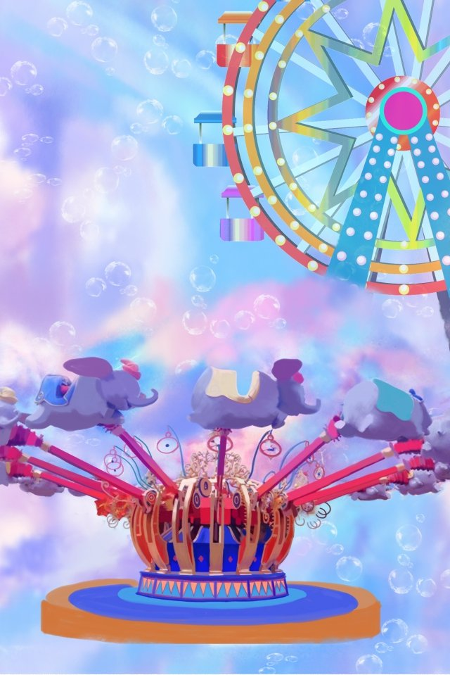 遊園地夢の乗り物バブル イラスト画像