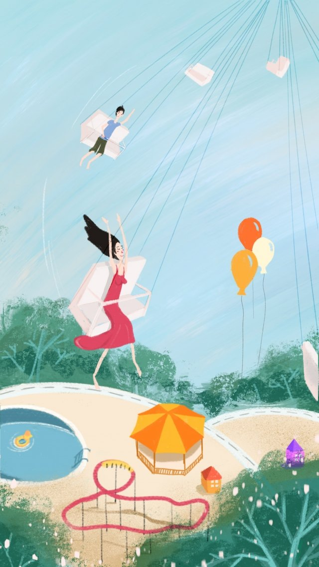 amusement park girl boy swimming pool illustration image