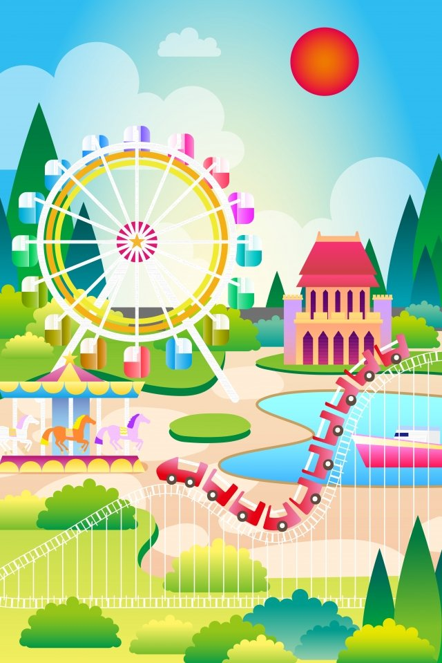 amusement park play background material, Illustration, Childhood, Roller Coaster illustration image