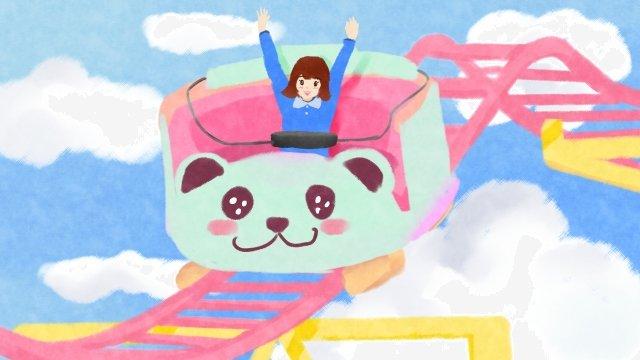遊園地で遊ぶ子供 イラスト素材 イラスト画像