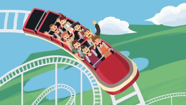 amusement park play roller coaster entertainment llustration image