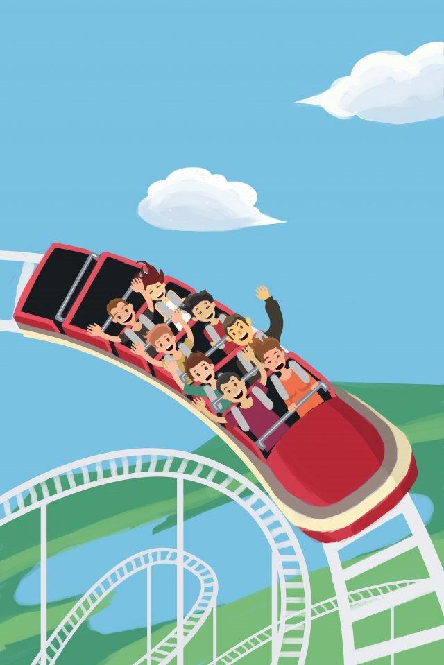 amusement park play roller coaster entertainment illustration image