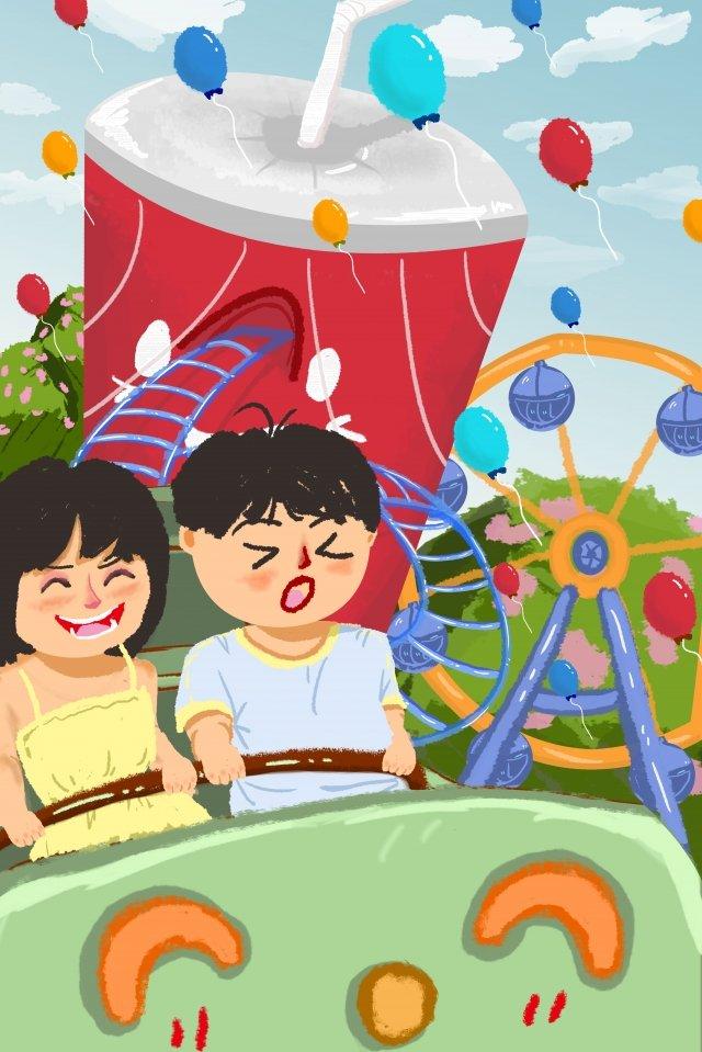 amusement park roller coaster hand painted friendship friendship day illustration image