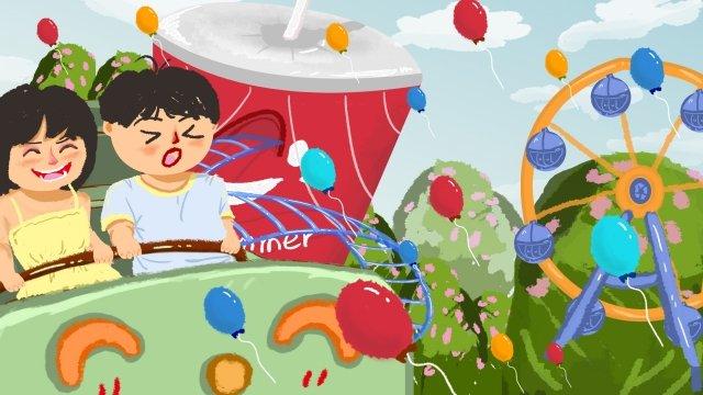 amusement park roller coaster hand painted friendship friendship day llustration image