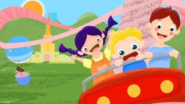 amusement park roller coaster hand painted illustration llustration image