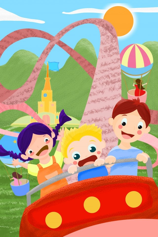 amusement park roller coaster hand painted illustration illustration image