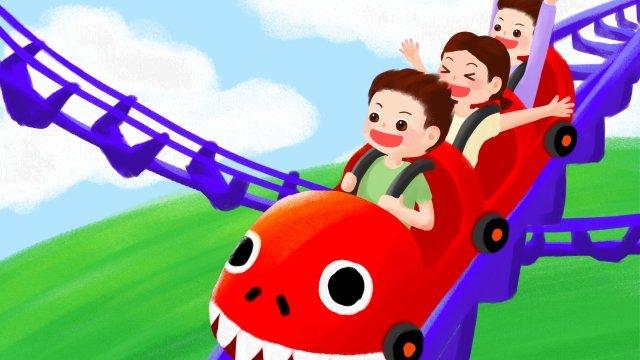 amusement park roller coaster track boy llustration image