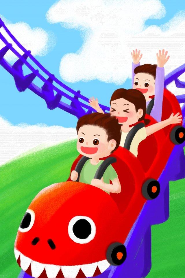 amusement park roller coaster track child illustration image