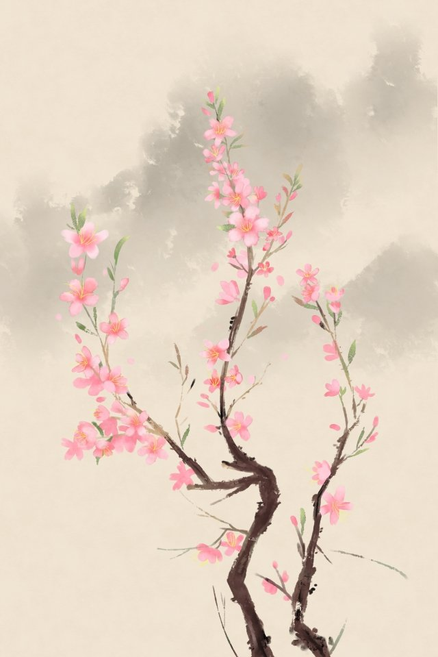 ancient flower painting chinese style antiquity classical, Peach Blossom, Flower, Plant illustration image