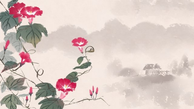 ancient flower painting ink antiquity chinese style, Flower, Plant, Classical illustration image