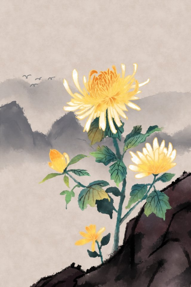 ancient flower painting ink painting chrysanthemum antiquity, Chinese Style, Classical, Artistic Conception illustration image