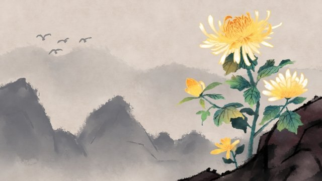 ancient flower painting ink painting chrysanthemum artistic conception, Classical, Ink Daisy, Plant illustration image