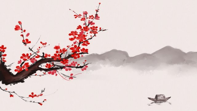 ancient flower painting ink wind chinese style antiquity, Plum Blossom, Plant, Flower illustration image