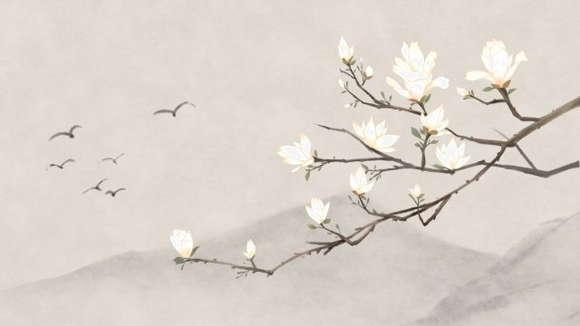 ancient flower painting magnolia flower classical, Antiquity, Chinese Style, Plant illustration image