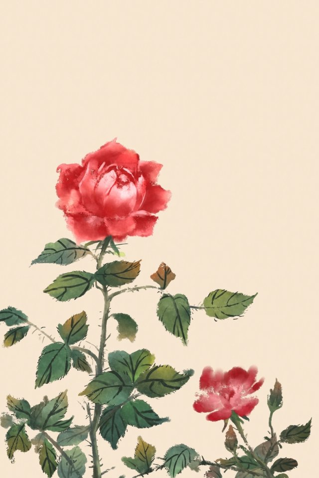 ancient flower painting rose flowers rose plant, Flower, Antiquity, Chinese Style illustration image